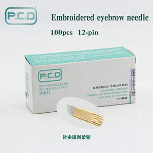 100 unids PCD 12 Pin Maquillaje Permanente Ceja Tatoo Blade Microblading Agujas Para 3D Bordado Manual Tattoo Pen