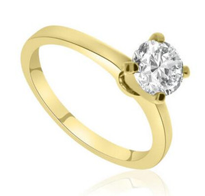 1.00 CT Rond CUT D / SI1 Simulation Diamant SOLITAIRE ENGAGEMENT RING 14K JAUNE OR NEUF