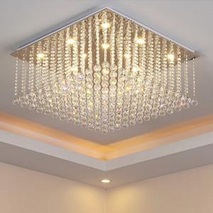 Lustre led lumières cristal moderne simple créatif élégant rectangle forme lustres pendentif plafonnier luminaire lustres lampe