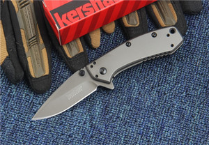 Kershaw 1555TI Titanio Tactical Knife Hinderer Design Flipper Camping Caza Supervivencia Pocket Knife 8Cr13Mov Utilidad Colección EDC