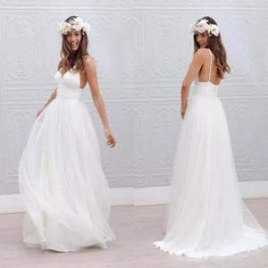 Düğün için 2020 Plaj Yaz Boho Gelinlik Seksi Backless Spagetti sapanlar Kat Uzunluk Düğün Gelin Modelleri Bohemian Resmi Modelleri