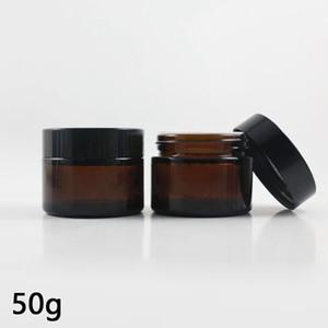 50 ml doldurulabilir Amber cam yüz Kremi örnek boş kavanoz konteynerler 50 gram kahverengi makyaj yüz Kremi şişe Ambalaj ile Beyaz iç kapak
