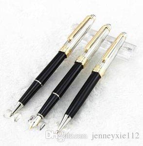 La alta calidad 3pcs / set de plata cepillado clásico de la pluma del rodillo negro / bolígrafo / pluma estilográfica