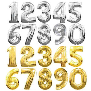 Большой 32-дюймовый номер воздушный шар золото серебро алюминиевая фольга шары рождественский декор подарки День Рождения свадебные украшения
