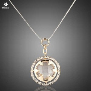 Retal Wholesale MOZEL Fashion Jewelry Women Classic Gold Plated Stellux Austrian Crystals Round Pendant Necklace TN0011