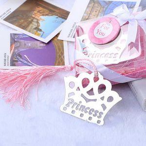 Segnalibro della corona delle nappe di rosa / blu dell'acciaio inossidabile d'argento per il regalo di favore di compleanno del partito della doccia di bambino di nozze Souvenir DHL libera il trasporto