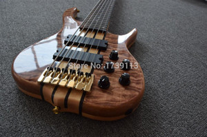 Custom Ken Smith 6 cuerdas Natural Quilted Maple Top Electric Bass Gutiar Rosewood Maple Sandwich Sandwich Cuello a través de la camionetas activas del cuerpo