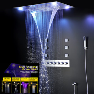 Large Rain Shower Bathroom Ceiling Electric Led ShowerHeads Rainfall Waterfall Shower Kit Faucets with 6 pcs Massage Body Jets Spray