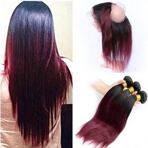 # 1B / 99J Borgoña Ombre 360 Band Lace closure con 3 paquetes Silky Straight Wine Red Ombre brasileño cabello humano con 360 Lace Frontal