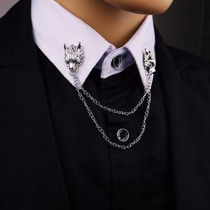 2017 новая мода старинные Волчья голова брошь для мужчин личность костюм булавки броши мужчины ювелирные изделия цепи животных отворотом Pin прохладный подарок
