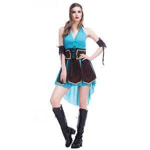 Хэллоуин Сексуальный Костюм Женщины Герой Кражи Косплей Платье Синий Backless Пиратский Платье Клуб Тематические Партии Униформа