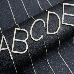 Edelstahl A-Z Englisch Alphabet Initial Halskette Silber vergoldet Großbuchstaben Anhänger Modeschmuck für Frauen DROP SHIP 162359