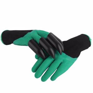 حديقة العمل قفازات مطاطية خضراء مع مخالب أطراف الأصابع البلاستيكية ABS - كبيرة لحفر التعشيب البذر