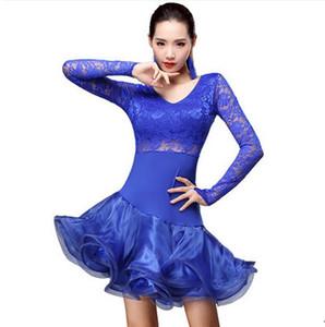 Il vestito libero da ballo del vestito da ballo di ballo del vestito da ballo del ballerino di Salsa Tango Cha 5Color di alta qualità di trasporto libero di alta qualità si veste il vestito dal fiore di cucitura
