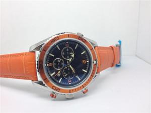 venta caliente reloj automático relojes masculinos correa de acero mecánica hombre reloj de pulsera de cuero naranja 322
