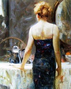 Enquadrado Pino Daeni Late Night Tea encanto aberto na pintura Impressionismo Art Oil espelho pintados à mão sobre tela Wall Decor multi tamanhos P012