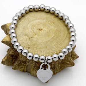 ارتفعت الأزياء والمجوهرات المباشر T الرئيسية الفولاذ المقاوم للصدأ على شكل قلب من الذهب الفضة الحب سلسلة سوار الخرزة مجوهرات إمرأة التيتانيوم الصلب