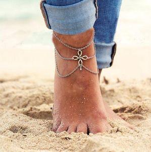 Vintage aleación de múltiples capas de plata chino nudo tobillera cadena para mujeres niñas con flecos tobillera joyería regalos sandalias descalzas