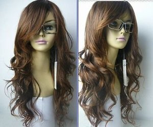 Frete Grátis nova Belle femme brun clair longue bouclée perruque \ kanekalon peruca