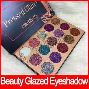Heiße Schönheit Glasierte Lidschatten-Palette gedrückt Glitter 15 Farben wasserdicht Lidschatten Pulver Make-up Lidschatten-Palette Kosmetik