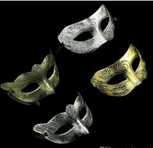 2017 Mascarilla Greco-romana para hombre retro para Mardi Gras Masquerade y Gladiator mascarada Vintage Golden / Silver Mask plata Carnaval Halloween