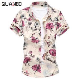 Toptan-QUANBO Artı boyutu 6XL Casual Gömlek 2016 Yeni Varış Yaz Çiçek Hawaiian gömlek Moda Streç Kısa kollu Camisa Masculina