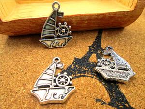 30pcs - Charms voiliers, pendentifs charm Bateau à voile Argent Tone tibétain Antique 28x22mm