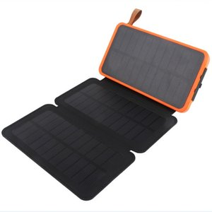 ماء بنك الطاقة الشمسية 20000mah كفاءة عالية قابلة للطي لوحة للطاقة الشمسية شاحن البطارية العالمي مع مصباح LED التخييم للشحن