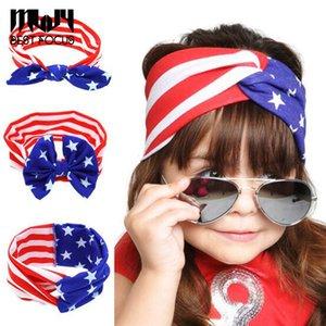 MLJY 3 Estilo America Flag Color Bebé Orejas de Conejo Bandas de Pelo Tie Hair Bow Accesorios Para el Cabello de Algodón Para Infantil 12 unids / lote