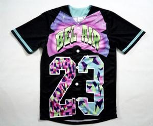 2 الألوان الحقيقية الولايات المتحدة الأمريكية حجم مخصص بيل اير 23 - طازجة الأمير 3D Sublimaiton طباعة قميص البيسبول زائد الحجم