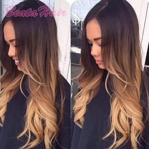 흑인 여성의 브라질 머리 세 가지 톤 #의 1B 4 27 선염 컬러 레이스 프런트 가발에 대한 8A 자연 물결 모양의 전체 레이스 인간의 머리 가발