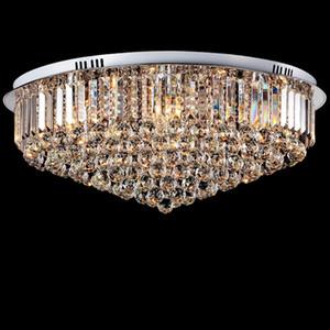 Led cristal Plafonnier Lustre ronde E14 Montage lampe K9 cristal Plafond Argent Chrome Pendant Light pour le salon