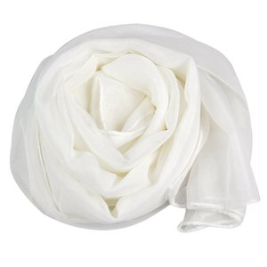 Wholesale- Fashion Ladies White Soft Long Large Chiffon Scarf Neck Head