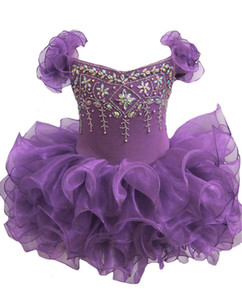 Baby Girls Glitz Pageant Cupcake Gowns 유아용 미니 Short Skirts 유아 소녀 Knee Length Pageant Dress