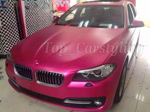 Film de pellicule de pellicule de vinyle rose métallisé mat pour voiture style avec dégagement d'air mat autocollant de voiture rose mat chrome 1.52x20m rouleau