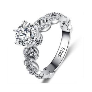 Классические женщины 925 ювелирных изделия стерлингового серебра Роскошного Циркон Алмазного Rhinestone помолвка Обручальные кольца Для Girlfriend даст подарок