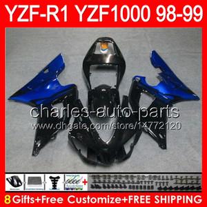 negro brillante 8gifts Cuerpo para YAMAHA YZFR1 98 99 YZF1000 YZF-R1 98-99 90NO12 YZF 1000 YZF-1000 YZF R 1 YZF R1 1998 1999 TOP negro azul Carenado