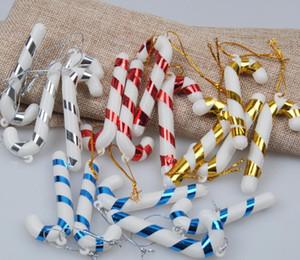 عيد الميلاد حلوى قصب زخرفة شجرة عيد الميلاد قلادة قطرة الحلي والزينة البسيطة شريط قصب عصا كرافت ديكور فارغ الذهب والفضة الأحمر