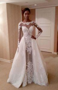 Düğün Dekorasyon 2017 Gelinlik Satılık gelinlik ayrılabilir overskirt elbiseler koleksiyonu ile pare Gelin Kıyafeti