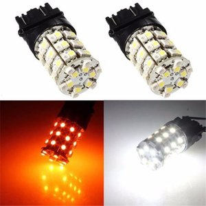 10xT25 3157 앰버 화이트 60SMD LED 자동 브레이크 전구 턴 신호 스위치 라이트 램프 호박색과 흰색