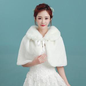 Elegant White Pearl Bridal Wrap Shawl Coat Jackets Boleros Shrugs Regular Faux Fur Stole Capes For Wedding Party Free Shipping