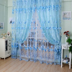 1PC 1M*2M Window Curtains Sheer Voile Tulle forroom Living Room Balcony Kitchen Printed Tulip Pattern Sun-shading Curtain