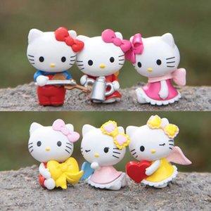 (6pcs set) KT Cat Action Figure Doll Cute Trumpet Blink Angel PVC Miniature Anime Toys 3.5cm