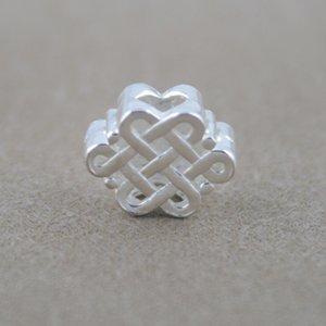 9 * 11mm S925 chinois en argent sterling Knot Perles pour le bricolage à la main Bracelet Collier Accessoires Bijoux