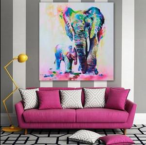 Renkli Fil, Kalite Kanvas Çoklu On hakiki Handpainted Modern Duvar Dekor Özet Hayvan Sanat Yağlıboya Resim Mevcut Lilang boyutları