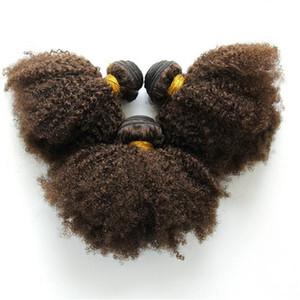 Melhor qualidade cor 4 virgem indiano kinky onda cabelo 3 pcs tecer cabelo humano para as mulheres negras frete grátis