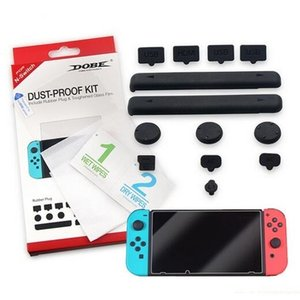 For Nintendo Switch Console Screen Protector Film Tempered Glass Silicone Soft Rubber Dust Proof Plug Kits With Retail Package Box