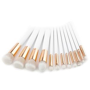 Professionale Make Up Brushes Set 10 / 12pcs bianco manico in legno morbido trucco cosmetico viso trucco spazzola Kit con scatola al dettaglio DHL libero