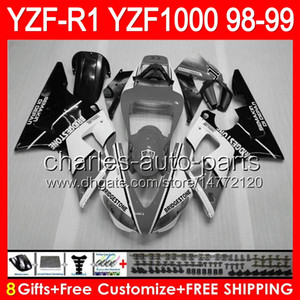 gris brillante 8gifts Cuerpo para YAMAHA YZFR1 98 99 YZF1000 YZF-R1 98-99 90NO81 YZF 1000 YZF-1000 YZF R 1 YZF R1 1998 1999 TOP blanco negro carenado