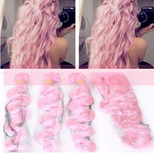 Новое прибытие розовые пучки человеческих волос с уха до уха фронтальной закрытия бразильского тела волна наращивание волос с кружевом фронтальной 13x4